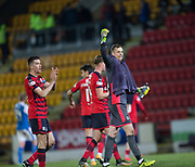 30th December 2017, McDiarmid Park, Perth, Scotland; Scottish Premiership football, St Johnstone versus Dundee; Dundee goalkeeper Elliott Parish celebrates at full time