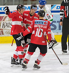 12.04.2018, Tiroler Wasserkraft Arena, Innsbruck, AUT, Eishockey Testspiel, Österreich vs Italien, während dem Eishockey Testspiel Österreich vs Italien am Donnerstag, 12. April 2018 in Innsbruck, im Bild Torjubel Österreich nach dem 2:0 // during the International Icehockey Friendly match between Austria and Italy at the Tiroler Wasserkraft Arena in Innsbruck, Austria on 2018/04/12. EXPA Pictures © 2018, PhotoCredit: EXPA/ Jakob Gruber