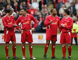 LIVERPOOL, ENGLAND - SUNDAY MARCH 27th 2005: Liverpool Legends players line-up before the Tsunami Soccer Aid match at Anfield. L-R: Ian Rush, John Aldridge, John Barnes, Robbie Fowler. (Pic by David Rawcliffe/Propaganda)