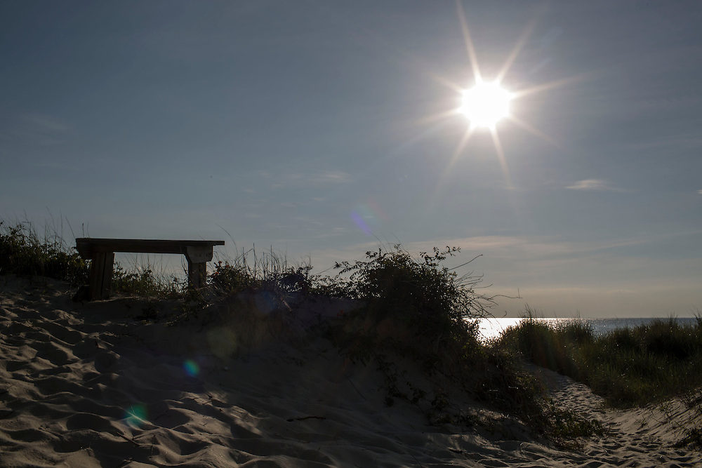 EASTVILLE, VA - JUNE 20: A bench placed on a dune at Savage Neck Nature Preserve is pictured on Friday, June 20th, 2014 near Eastville, Va. (Photo by Jay Westcott/For The Washington Post)