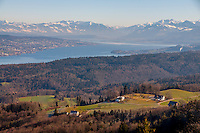 Beautiful panorama of Lake Zurich and the Swiss Alps on a sunny winter's day.