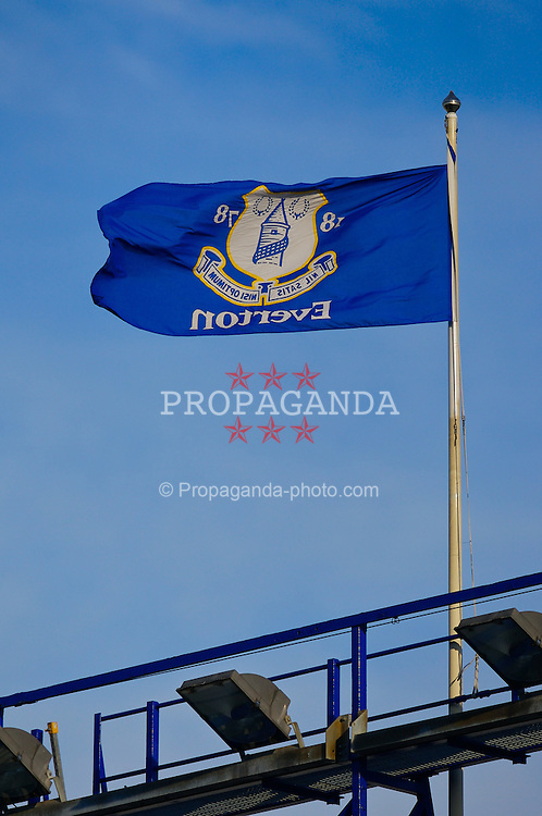 LIVERPOOL, ENGLAND - Saturday, February 9, 2008: An Everton club flag flies over the floodlights at Goodison Park. (Photo by David Rawcliffe/Propaganda)