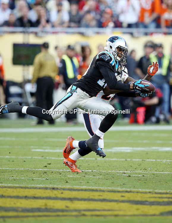 Carolina Panthers wide receiver Corey Brown (10) leaps while trying to catch a third down pass broken up by Denver Broncos free safety Bradley Roby (29) in the second quarter during the NFL Super Bowl 50 football game against the Denver Broncos on Sunday, Feb. 7, 2016 in Santa Clara, Calif. The Broncos won the game 24-10. (©Paul Anthony Spinelli)