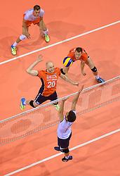 20150620 NED: World League Nederland - Portugal, Groningen<br /> De Nederlandse volleyballers hebben in de World League het vierde duel met Portugal verloren. Na twee uitzeges en de 3-0 winst van vrijdag boog de ploeg van bondscoach Gido Vermeulen zaterdag in Groningen met 3-2 voor de Portugezen: (25-15, 21-25, 23-25, 25-21, 11-15) / Jasper Diefenbach #20, Jeroen Rauwerdink #10, Gijs Jorna #7