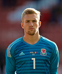 WREXHAM, WALES - Friday, September 6, 2019: Wales' goalkeeper George Ratcliffe lines-up before the UEFA Under-21 Championship Italy 2019 Qualifying Group 9 match between Wales and Belgium at the Racecourse Ground. (Pic by Laura Malkin/Propaganda)