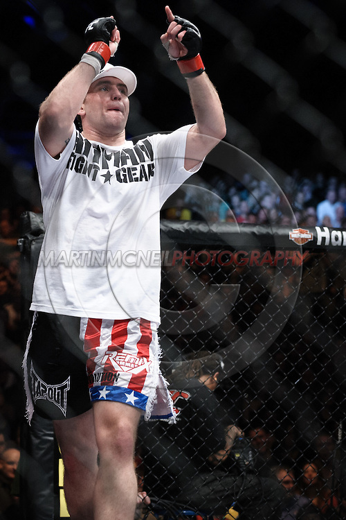 """DUBLIN, IRELAND, JANUARY 17, 2009: Alan Belher is pictured after winning his fight at """"UFC 93: Franklin vs. Henderson"""" inside the O2 Arena in Dublin, Ireland"""