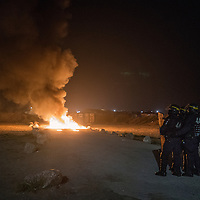 Refugees in the Jungle of Calais  in France Clash between migrants and police.