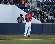 Ole Miss third base coach Matt Mossberg vs. Louisiana-Monroe at Oxford-University Stadium in Oxford, Miss. on Friday, February 19, 2010.