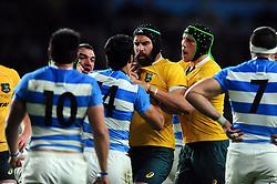 Tempers flare between Matias Moroni of Argentina and Scott Fardy of Australia - Mandatory byline: Patrick Khachfe/JMP - 07966 386802 - 08/10/2016 - RUGBY UNION - Twickenham Stadium - London, England - Argentina v Australia - The Rugby Championship.