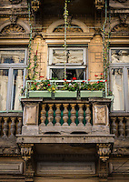 Balcony over Strada Franceza in Old Town Bucharest, Romania.