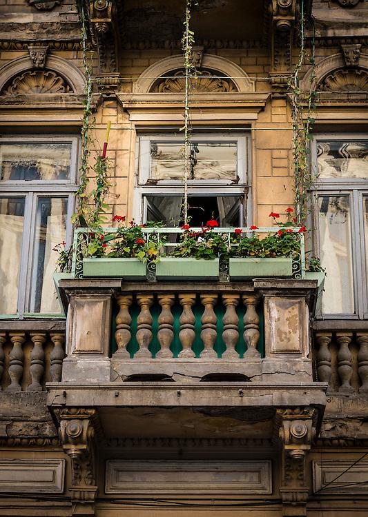 Balcony over Strada Franceza in Old Town Bucharest, Romania.