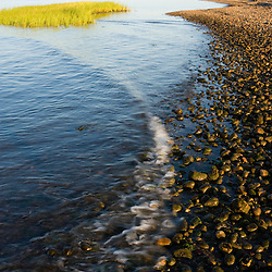 The mouth of the Connecticut River at Long Island Sound in Old Lyme, Connecticut.  The Nature Conservancy's Griswold Point Preserve.
