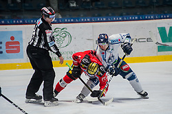 23.02.2018, Ice Rink, Znojmo, CZE, EBEL, HC Orli Znojmo vs Fehervar AV 19, Qualifikationsrunde, im Bild v.l. David Bartos (HC Orli Znojmo) Aron Sandor Reisz (Fehervar AV19) // during the Erste Bank Icehockey League qualification round match between HC Orli Znojmo and Fehervar AV 19 at the Ice Rink in Znojmo, Czech Republic on 2018/02/23. EXPA Pictures © 2018, PhotoCredit: EXPA/ Rostislav Pfeffer