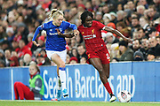 Everton women defender Esme Mogan (14) and Liverpool women forward Rinsola Babajide (20)   during the FA Women's Super League match between Liverpool Women and Everton Women at Anfield, Liverpool, England on 17 November 2019.