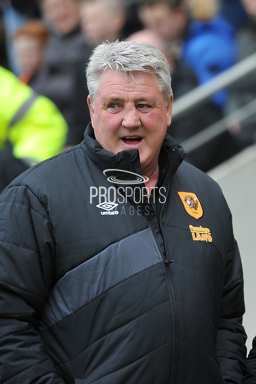 Hull City manager Steve Bruce during the Sky Bet Championship match between Hull City and Leeds United at the KC Stadium, Kingston upon Hull, England on 23 April 2016. Photo by Ian Lyall.