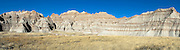 Panoramic view of Badlands National Park on an early spring day; South Dakota, USA.