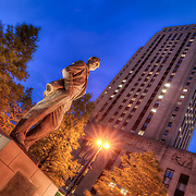 Statue of former KCMO Mayor Ilus Davis across the street from the City Hall building, downtown Kansas City, Missouri.