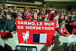 ADELAIDE, AUSTRALIA - Monday, July 20, 2015: A Liverpool supporter with a banner 'Sakho, Le Mur De Merseyside' during a preseason friendly match against Adelaide United at the Adelaide Oval on day eight of the club's preseason tour. (Pic by David Rawcliffe/Propaganda)