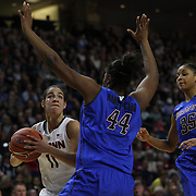 Kia Nurse, (left), UConn, drives to the basket defended by Brandi Harvey-Carr, DePaul,  during the UConn Vs DePaul, NCAA Women's College basketball game at Webster Bank Arena, Bridgeport, Connecticut, USA. 19th December 2014