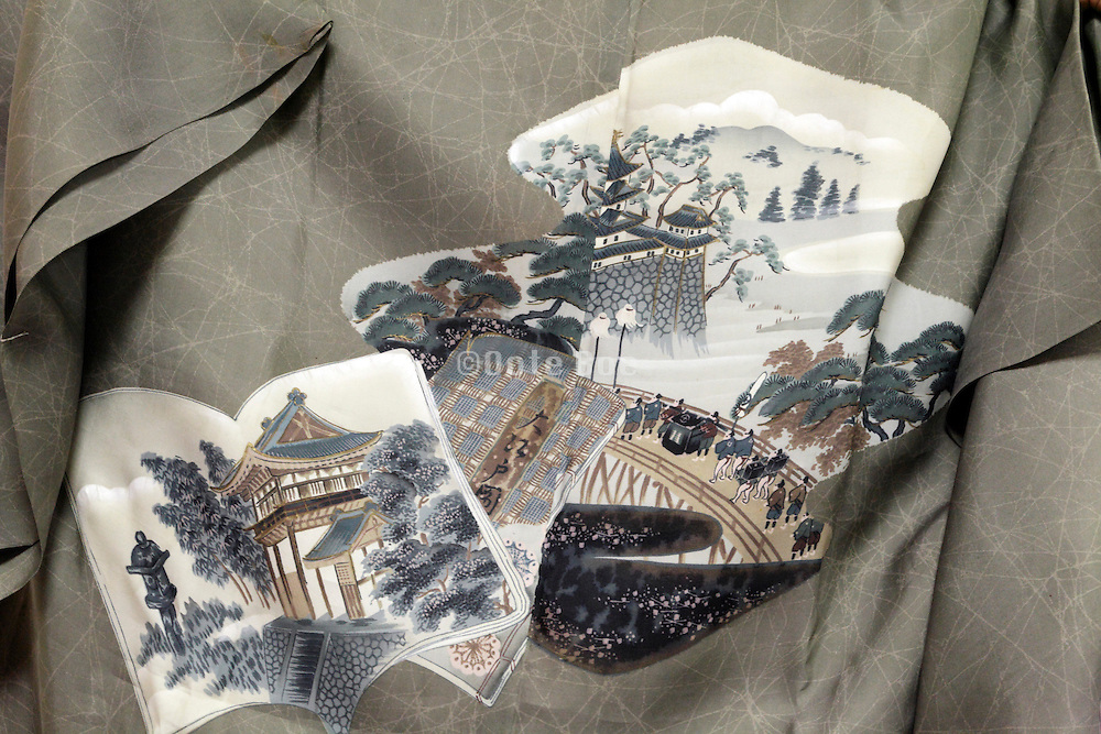 traditional Japanese landscape illustrations on a kimono