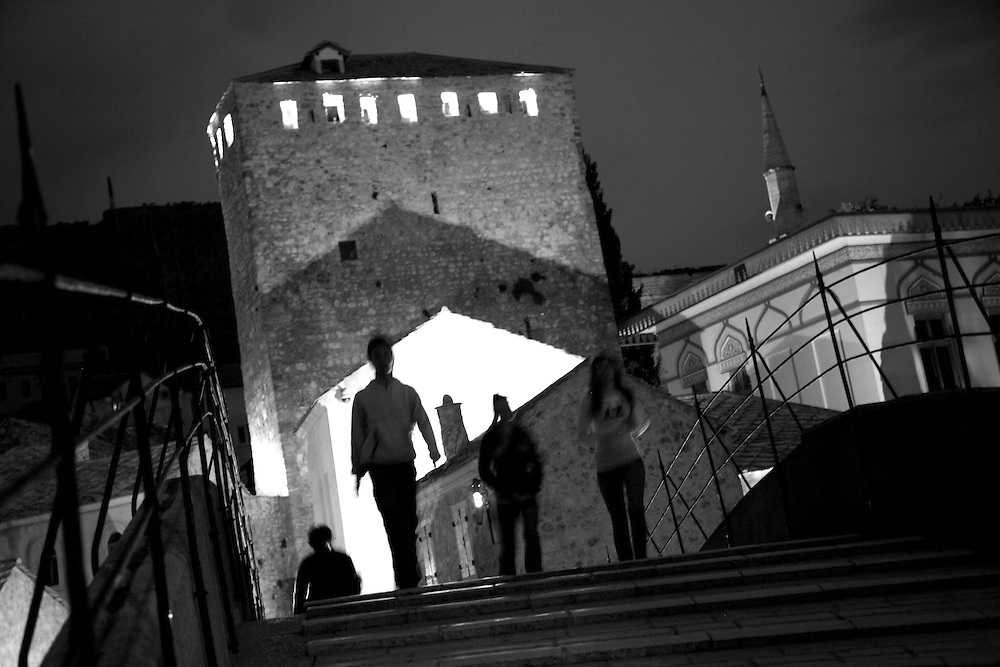 Stari Most, the Old Bridge. In the Turkish quarter of downtown Mostar...Scenes from Mostar, Bosnia and Herzegovina..