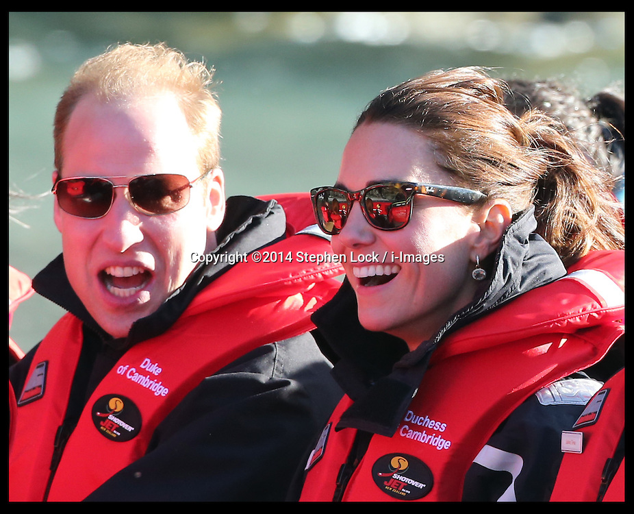 The Duke and Duchess of Cambridge take part in a Shotover jet ride in Queensland, New Zealand ,  Sunday, 13th April 2014. Picture by Stephen Lock / i-Images