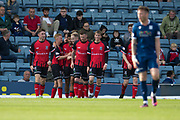 8th September 2019; Dens Park, Dundee, Scotland; Tunnocks Caramel Wafer Cup, Dundee Football Club versus Elgin City; Rabin Omar of Elgin City is congratulated after scoring for 1-1 in the 56th minute
