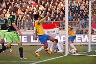 Onderwerp/Subject: RKC Waalwijk - Ajax - Eredivisie<br /> Reklame:  <br /> Club/Team/Country: <br /> Seizoen/Season: 2012/2013<br /> FOTO/PHOTO: Christian ERIKSEN ( Christian Dannemann ERIKSEN ) (NOT ON PHOTO) of Ajax celebrating his goal and Ard VAN PEPPEN (C) of RKC Waalwijk and Rodney SNEIJDER (R) of RKC Waalwijk and Goalkeeper Jeroen ZOET (ON GROUND) of RKC Waalwijk and Toby ALDERWEIRELD ( Tobias ALDERWEIRELD ) (L) of Ajax. (Photo by PICS UNITED)<br /> <br /> Trefwoorden/Keywords: <br /> #02 $94 ±1355231322448 ±1355231322448<br /> Photo- & Copyrights © PICS UNITED <br /> P.O. Box 7164 - 5605 BE  EINDHOVEN (THE NETHERLANDS) <br /> Phone +31 (0)40 296 28 00 <br /> Fax +31 (0) 40 248 47 43 <br /> http://www.pics-united.com <br /> e-mail : sales@pics-united.com (If you would like to raise any issues regarding any aspects of products / service of PICS UNITED) or <br /> e-mail : sales@pics-united.com   <br /> <br /> ATTENTIE: <br /> Publicatie ook bij aanbieding door derden is slechts toegestaan na verkregen toestemming van Pics United. <br /> VOLLEDIGE NAAMSVERMELDING IS VERPLICHT! (© PICS UNITED/Naam Fotograaf, zie veld 4 van de bestandsinfo 'credits') <br /> ATTENTION:  <br /> © Pics United. Reproduction/publication of this photo by any parties is only permitted after authorisation is sought and obtained from  PICS UNITED- THE NETHERLANDS