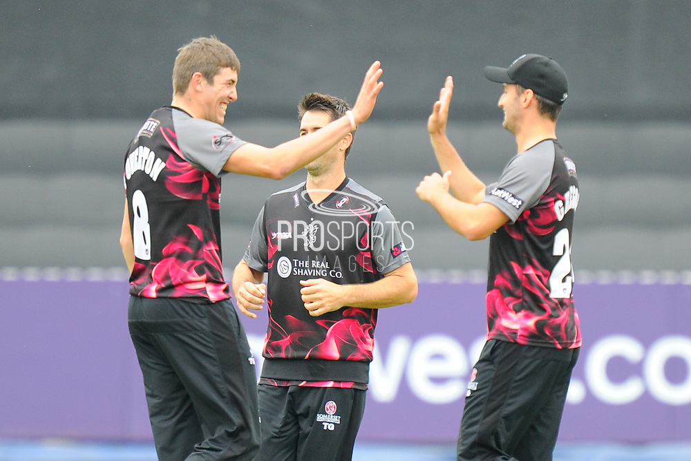 Somerset's Jamie Overton celebrates the wicket of Hampshire's Darren Sammy during the NatWest T20 Blast South Group match between Somerset County Cricket Club and Hampshire County Cricket Club at the Cooper Associates County Ground, Taunton, United Kingdom on 19 June 2016. Photo by Graham Hunt.