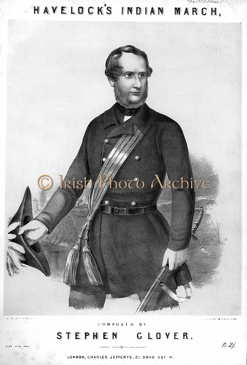 Henry Havelock (1795-1857) British soldier, Major-General 1857. During Indian Mutiny (1857-1859) took part in both reliefs of Lucknow, Sept and November 1857. Died of dysentery. Tinted lithograph from cover of 'General Havelock's Indian March' composed by Stephen Glover c1857 .