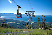 Heavenly Valley Tram with lake tahoe in background