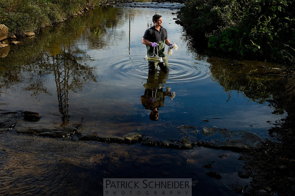 Catawba Riverkeeper Sam Perkins at work testing the waters in the Charlotte, North Carolina area.<br /> <br /> Charlotte Photographer - PatrickSchneiderPhoto.com