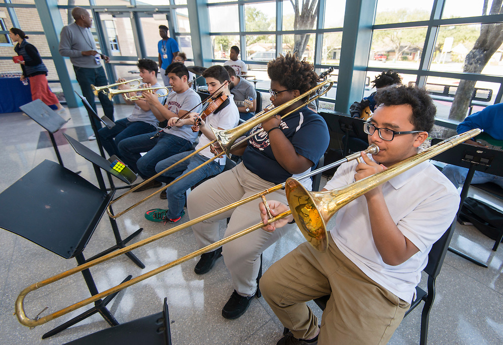 Westbury Jazz Band performs during a groundbreaking ceremony at Westbury High School, February 16, 2017.