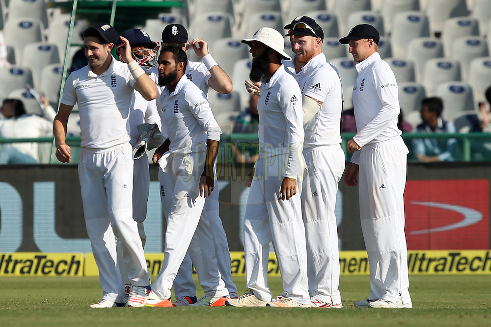 Adil Rashid of England celebrates wicket of Cheteshwar Pujara of India during day 2 of the third test match between India and England held at the Punjab Cricket Association IS Bindra Stadium, Mohali on the 27th November 2016.Photo by: Prashant Bhoot/ BCCI/ SPORTZPICS