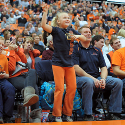 A Syracuse fan dances to Gangnam Style during a second half time-out as the Long Beach State 49ers battle the Syracuse Orange at the Carrier Dome in Syracuse, New York. No. 4 Syracuse defeated Long Beach State 84-53.