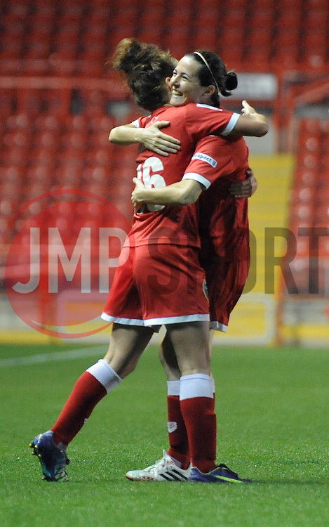 Bristol Academy Womens' Angharad James celebrates with his team mates after scoring. - Photo mandatory by-line: Dougie Allward/JMP - Mobile: 07966 386802 - 16/10/2014 - SPORT - Football - Bristol - Ashton Gate - Bristol Academy v Raheny United - Women's Champions League