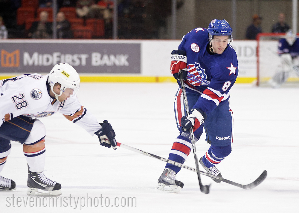 December 28, 2011: The Oklahoma City Barons play the Rochester Americans in an American Hockey League game at the Cox Convention Center in Oklahoma City.