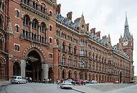 St Pancras Renaissance Hotel, St Pancras, London, UK. At the same location is St Pancras Railway Station from where the Eurostar high speed trains operate to Continental Europe via the Channel Tunnel. The St Pancras Complex also incorporates many big name stores and restaurants. 201609044268<br />