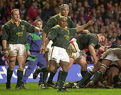 Library file picture dated 26/11/00 South Africa's wing three-quarter Chester Williams kicking clear from the base of a maul, during a friendly match against Wales at the Millennium Stadium in Cardiff. Williams is now nearing the end of his illustrious Test career as South Africa go into tomorrow's Millennium Stadium clash against the Barbarians. See PA story RUGBYU South Africa.  **EDI** PA Photo : David Jones
