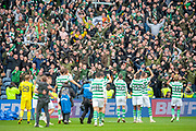 The Celtic fans applaud the team at the final whistle of the Betfred League Cup semi-final match between Heart of Midlothian FC and Celtic FC at the BT Murrayfield Stadium, Edinburgh, Scotland on 28 October 2018.