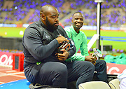 Darrell Hill (USA) and Nijel Amos (BOT) poses with the IAAF Diamond League shot put and 800m trophies at the 42nd Memorial Van Damme at King Baudouin Stadium in Brussels, Belgium on Friday, September 1, 2017. (Jiro Mochizuki/Image of Sport)