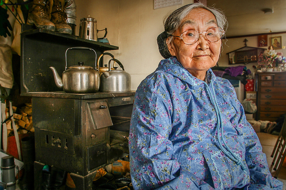 Yupik elder, Olinka K. Nicolai, at her home in the Yup'ik village of Kwethluk, Alaska