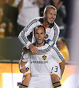 Landon Donovan and David Beckham celebrate after Donovan's goal in the first half, Los Angles Galaxy vs the San Jose Earthquakes, Thursday, April 3, 2008.