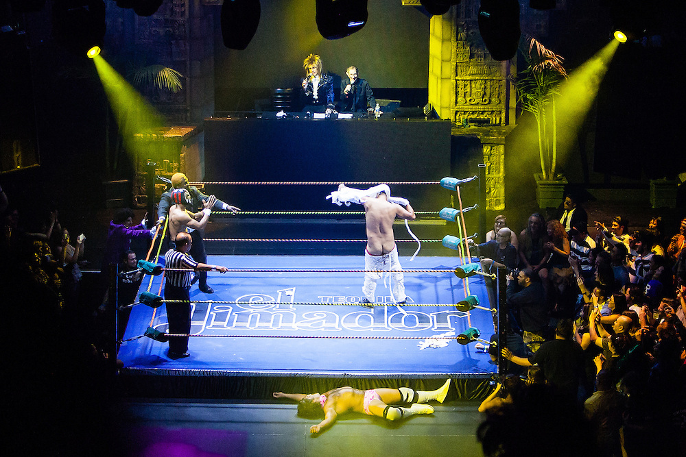Wrestlers perform during Lucha VaVoom's Aztec Horror at the Mayan Theater on Friday, October 26, 2012 in downtown Los Angeles.  Lucha VaVoom is a variety show of Mexican masked wrestlers and burlesque dancers.  Michael Yanow