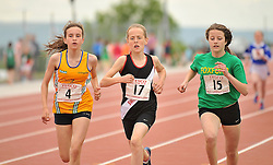 Emily Boyle Ballinrobe, Maeve Gallagher Swinford and Anna Yeats Foxford pictured competiting in the girls Under 14 800m at the Mayo Commmunity Games finals in Claremorris.<br /> Pic Conor McKeown