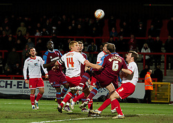 STEVENAGE, ENGLAND - Saturday, December 17, 2011: Tranmere Rovers' Mark McChrystal is pulled down for a penalty in injury time against Stevenage during the Football League One match at Broadhall Way. (Pic by David Rawcliffe/Propaganda)