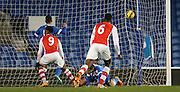 CHUBA AKPOM opens the scoring during the Barclays U21 Premier League match between Brighton U21 and Arsenal U21 at the American Express Community Stadium, Brighton and Hove, England on 1 December 2014.