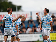 FODBOLD: Thomas Dalgaard, Mads Aaquist and Frederik Bay (FC Helsingør) celebrates after scoring the first goal during the pre-season match between FC Helsingør and Bridges FC at Helsingør Stadion on July 8, 2017 in Helsingør, Denmark. Photo by: Claus Birch / ClausBirch.dk