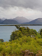 View across Lake Wakatipu on a windy, grey spring day; taken from the Glenorchy-Queenstown Highway; Otago region, New Zealand