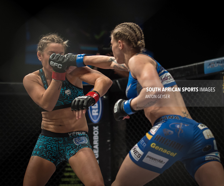 20151007, GRANDWEST, CAPE TOWN, SOUTH AFRICA: Shana Power vs. Kirsty Davis - flyweight - during EFC 45 at GrandWest Casino, Cape Town, South Africa. <br /> (Photo by Anton Geyser / EFC Worldwide 2015)